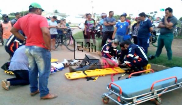 Dois são socorridos ao Pronto Socorro após colisão entre motos na Av Jaru