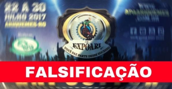 NOTA DE DESAGRAVO: Falsificação adesivo estacionamento da Expoari