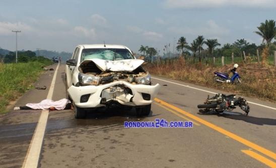 Grave acidente deixa um morto na BR 421 de Monte Negro, em Rondônia