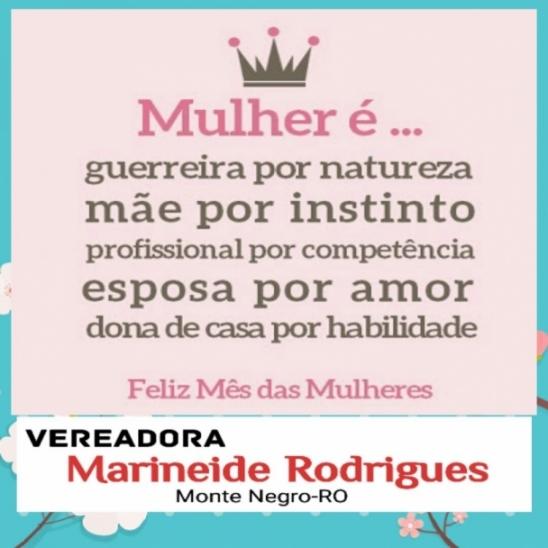 Vereadora Marineide Rodrigues deseja um Feliz Dia das Mulheres