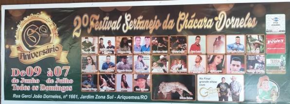 Chácara Dorneles: 2º Festival Sertanejo tem inicio no domingo (09), em Ariquemes