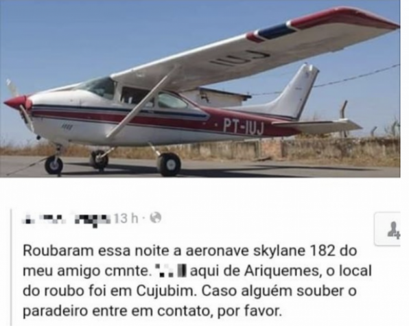 ASSALTO: Aeronave é roubada e seis pessoas são mantidas reféns