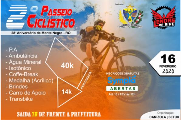 Aberta as inscrições para o 2º Passeio Ciclístico no 28º Aniversário de Monte Negro, em RO