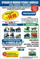Cursos profissionalizantes para operador de maquinas pesadas e agrícolas em Monte Negro;