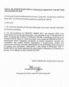 EDITAL DE CONVOCAÇÃO PARA A CONVENÇÃO MUNICIPAL ONLINEPARA AS ELEIÇÕES DE 2020